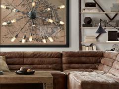 Atmosphère déco Flamant Spoutnik Chandelier lustre canapé gran sasso sofa