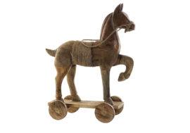 Cheval en bois de manguer naturel